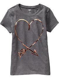 Old Navy Girls Metallic Graphic Tees - Medium charcoal gray T-shirt Broderie, Printed Shirts, Tee Shirts, Cute Graphic Tees, Kids Fashion, Fashion Outfits, T Shirt Designs, Love Shirt, Tee Design