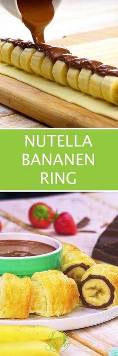 Nutella-Bananen-Ring fliegt mit doppelter Schokodröhnung auf den Teller.