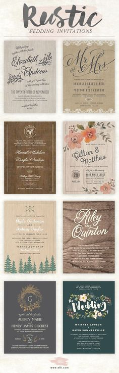 Rustic wedding invitations | bellacollina.com | Bella Collina Weddings