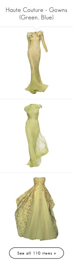 """Haute Couture - Gowns (Green, Blue)"" by giovanna1995 ❤ liked on Polyvore featuring dresses, gowns, long dress, long dresses, beige long dress, beige gown, beige dress, beige evening dresses, tiana and vestidos"