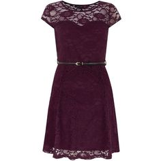 Dark Red Lace Belted Skater Dress ($33) ❤ liked on Polyvore featuring dresses, plum, belted dress, belted lace dress, skater dress, short sleeve dress and purple lace dress