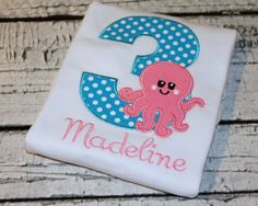 Girl's Octopus Birthday Shirt, Under the Sea Birthday Shirt, Ocean Birthday Beach Birthday, Available in ages 1-9 by thesimplyadorable on Etsy
