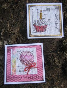 tim holtz blueprint cards | Happy Birthday ~Tim Holtz Blueprint Minis 3×3