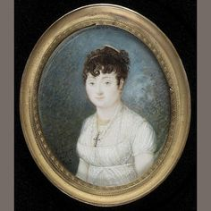 P. Gay  A Lady, wearing white dress with sheer spotted fichu, a cross on a gold chain at her neck, her dark curled hair decorated with a gold comb, 1808