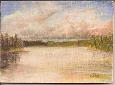 "Miniature painting 3""x4"" Gan Lake Canada 1999"