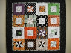 Halloween wall hanging quilt with embroidery