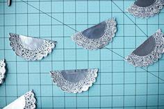 silver doily garland