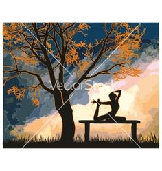 Female exercising in the countryside vector