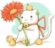 #可愛い猫と雛