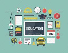 Education Items Flat Icons Set ...  alphabet, apple, atom, bag, blackboard, board, book, bus, chemistry, date, diploma, equipment, geography, graduation, icon, knowledge, literature, math, microscope, music, notebook, object, physics, ruler, science, set, sport, student, stuff, university