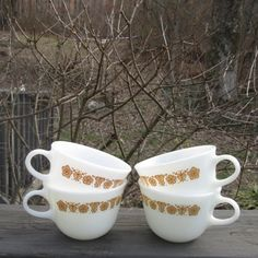 Four Vintage Butterfly Gold Tea Cups - Pyrex/ Corning