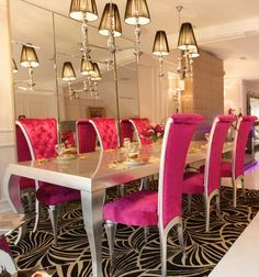 Elegant Find This Pin And More On Living Room. The Fabulous Diva Silver Leaf Dining  Set With Shocking Pink ...