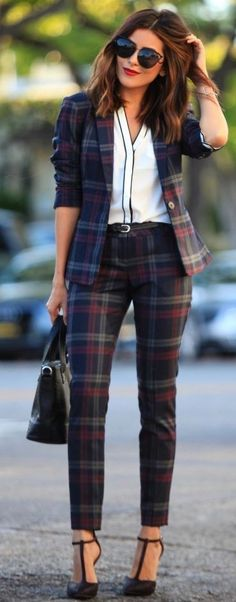 #spring #business #outfitideas    Plaid Pant Suit + White Shirt