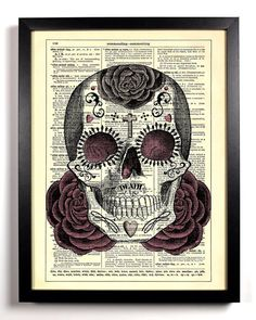 day of the dead vintage dictionary artwork notebook dia de los muertos notebook journal 7 x 10 inch ruled