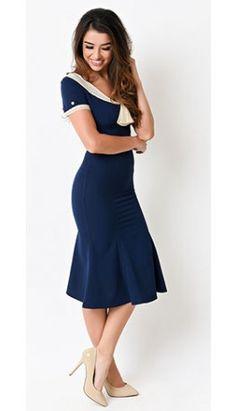 Stop Staring! 1930s Style Navy & Ivory Railene Dress