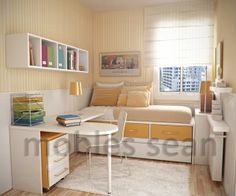 Small Kidsu0027 Room Design Ideas With Multifunctional Furniture:Orange Accent  Trundle Bed In Kids Room Ideas And White Color L Shaped Desk