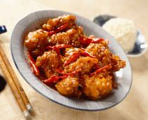 General Tso's Chicken( I used shrimp)   I also used a deep fryer to cook them, and added bell pepper and carrot as veggies.  Cook shrimp.  Heat oil.  add dried chilies. Veggies. Meat. sauce.  serve.