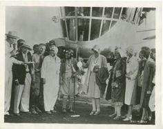 Amelia Earnhardt christens the Goodyear blimp--1929