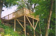 Hillside tent deck