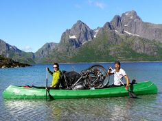 Max carries a full-size foldable canoe on this bike trailer so that he can cross waterways. He can fit all his equipment ? e.g. bike, tent, food, cooking equipment, etc ? into the canoe as shown on this picture.