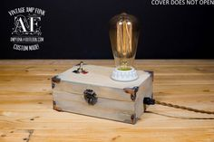 Edison vintage style wood box lamp industrial cottage