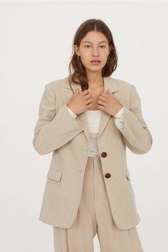 Льняной жакет - Cветло-бежевый - Женщины   H&M RU 2