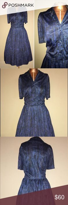 """Vintage 1950s 1960s Blue Fit and Flare Shirt Dress MEASUREMENTS: Approximate Size: Large Bust: 36"""" Waist: 32"""" Hip: free Length: 28"""" from the natural waist Material: 100% Polyester  Tags: Robert Powers  DETAILS: Shirt style dress. Button front bodice. Pleated Skirt. Material is slightly stretchy.   CONDITION: The overall condition of this dress is excellent. There is no discoloration or staining on the dress. All of the buttons are attached and secure.   SPECIAL NOTES: Petticoat is not…"""