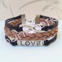 Infinity Bracelet.Love Symbol Mocha Wax Cords and Coffee bracelet.Christmas Gift
