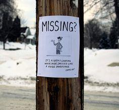 Funny street sign - Waldo