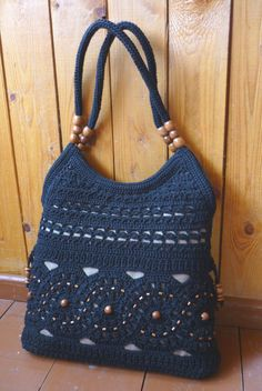 Ecru  handmade crochet handbag .Summer cotton boho by Nattochka