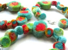 Roll felted beads. I've made some of these before.  Fun to make and wear.