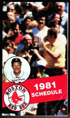 1981 BOSTON RED SOX BUDWEISER BEER  BASEBALL POCKET SCHEDULE RALPH HOUK ON COVER #Schedule