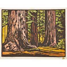 """WILLIAM RICE (1873 - 1963) Color woodblock print on handmade paper, """"The Sequoia Grove,"""" California Pencil signed and titled, tree chopmark, with dedication to Harry Noyes Pratt Image: 9"""" x 12"""""""