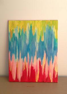 Semi-Chevron Abstract on 16 x 20 Stretched Canvas on Etsy, $50.00