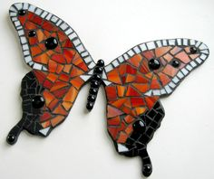 Mosaic Butterfly, Mixed Media Wall Decor, Red Orange Mosaic Butterfly Art, Mosaic Wall Art. $62.25, via Etsy.