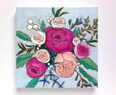 Peonies roses floral bouquet painting  A by jenniferallevato