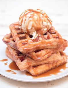 This churro waffle recipe is part breakfast and part dessert. Whatever it is, it's delicious. Oh, and gluten free. Plus there's ice cream and caramel! // @jerryjamesstone