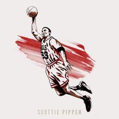 finest selection 109be ebb91 NBA Basketball Player Scottie Pippen Chicago Bulls
