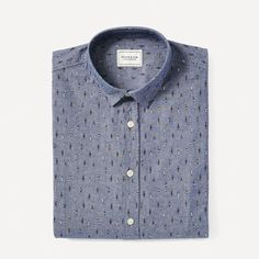 Don't get lost in a sea of denim shirts. With its original buoy print, this chambray shirt will get you noticed and will get the conversation going, whether you're escaping to the front in thought or in travel. Wear it with a tan chino to push the coastal