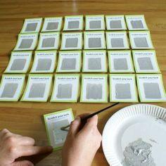 Carte à gratter: liquide vaisselle + acrylique