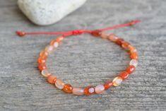 Leo Birthstone, Amethyst Bracelet, Cord Bracelets, Adjustable Bracelet, Carnelian, Anklets, Stone Beads, Gifts For Women, Crochet