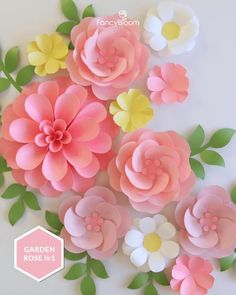 """Paper Flower Backdrop DIY Kit"" includes 5 different paper flower templates (dahlia, 2 types of garden roses, daisy and small flowers) as well as templates for leaves, and very detailed step-by-step video tutorials! You don't have to search and buy different flower templates separately, thinking about how to arrange them and what to include in the composition. As the name says, everything you need is in one kit! So very easy and fast you can create the whole backdrop by yourself! How To Make Flowers Out Of Paper, Big Paper Flowers, Paper Flower Wreaths, Paper Peonies, Paper Flowers Wedding, Diy Backdrop, Paper Flower Backdrop, Crepe Paper Flowers Tutorial, Backdrops"