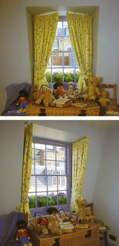 Cute curtains for the playroom window seat.