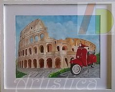 Colosseum Rome Italy travel memory, Flavian Anphitheatre Romans monuments acrylic paint on canvas framed picture Travel Memories, Rome Italy, Acrylic Painting Canvas, Vespa, Monuments, Italy Travel, Romans, Canvas Frame, Bookends