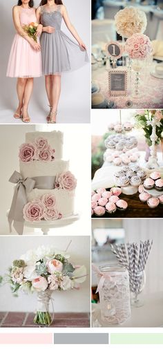 grey and pink wedding ideas and short bridesmaid dresses