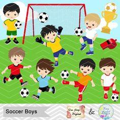 Digital Boys fútbol Clipart niño fútbol Digital Clip Art | Etsy