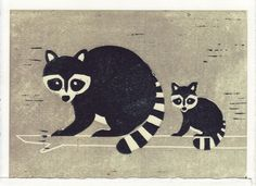 RACCOONS reproduction linocut block print by annasee on Etsy
