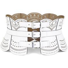 BCBGMAXAZRIA Scallop Cutout Corset Waist Belt ($138) ❤ liked on Polyvore featuring accessories, belts, corset, off white, vegan studded belt, adjustable belt, wide cinch belt, perforated belt and studded belt