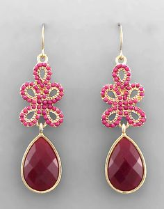 Victoria Earrings - Wine