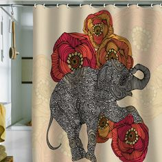 beautiful art inspired shower curtains-Valentina Ramos Rosebud Shower Curtain